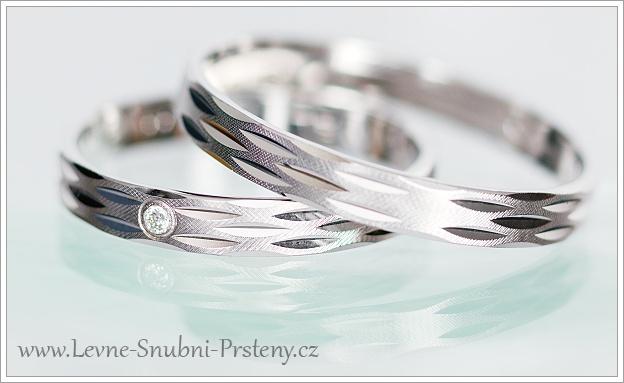 Snubní prsteny LSP 1049b bílé zlato