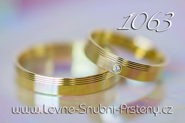 Snubní prsteny LSP 1063 žluté zlato s kamenem