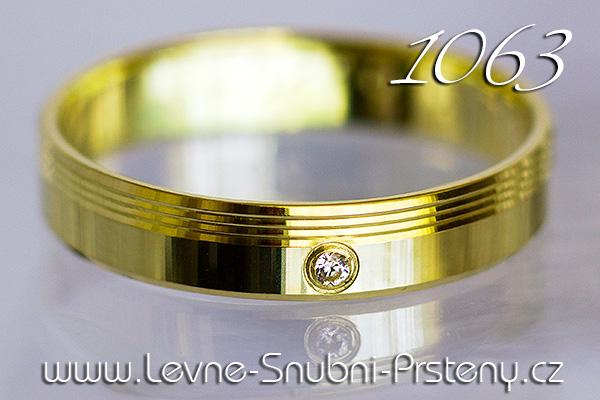 Snubní prsteny LSP 1063z žluté zlato se zirkony