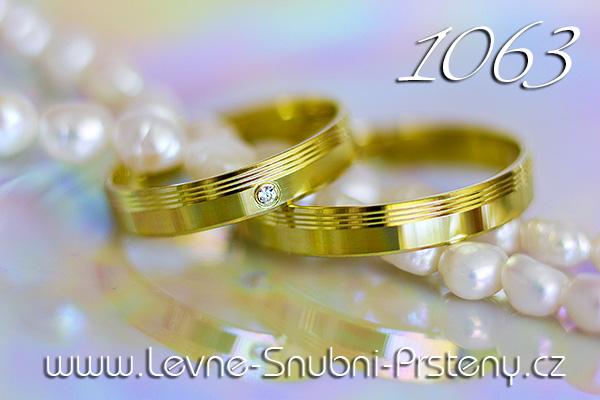 Snubní prsteny LSP 1063z žluté zlato s kamenem