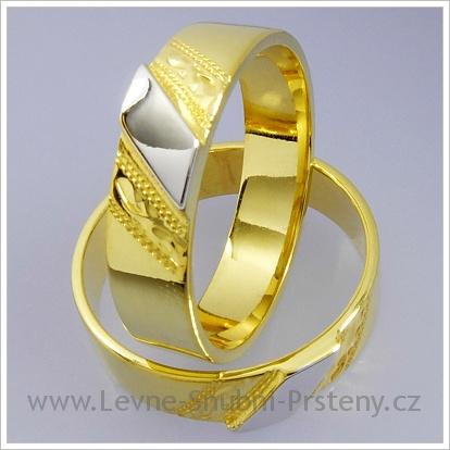 Snubní prsteny LSP 1297 žluté zlato, bílý proužek